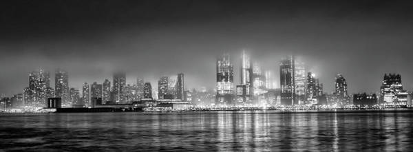 Photograph - Fog Shrouded Midtown Manhattan In Black And White Panorama by Bill Cannon