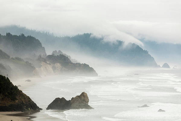 Ecola State Park Photograph - Fog Shrouded View Of Rocky Coastline by Win-initiative
