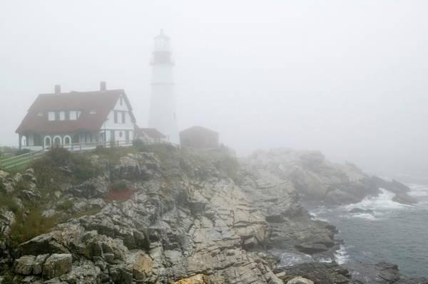 Casco Bay Photograph - Fog Shrouds The Portland Head by Visionsofamerica/joe Sohm