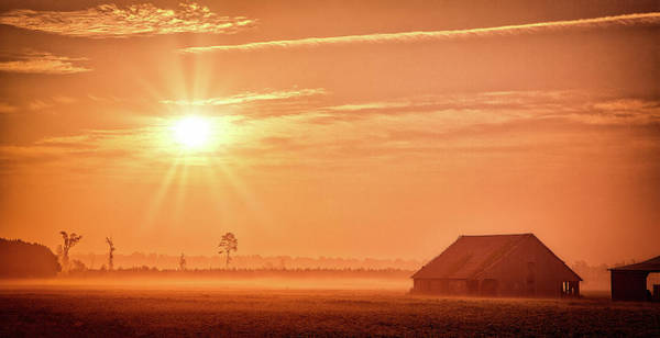 Wall Art - Photograph - Foggy Barn And Fields Sunrise by Dan Carmichael