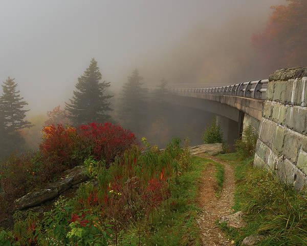 Foggy Blue Ridge Parkway - Linn Cove Viaduct Fall Art Print