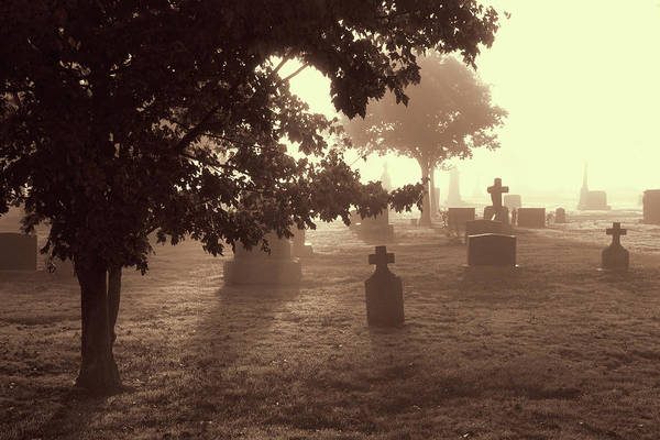 Photograph - Foggy Cemetery - Sepia by Peggy Collins