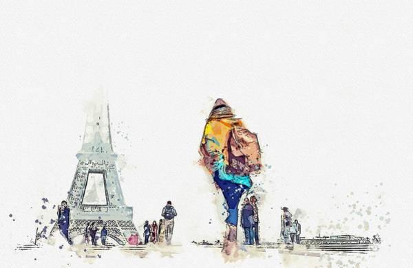 Painting - Foggy Eiffel Tower, Paris, France -  Watercolor By Adam Asar by Adam Asar