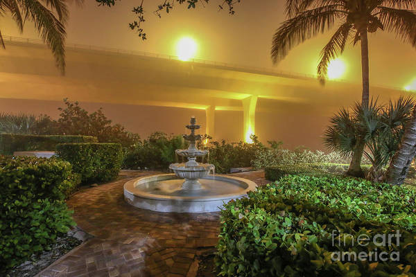 Photograph - Foggy Fountain And Bridge by Tom Claud