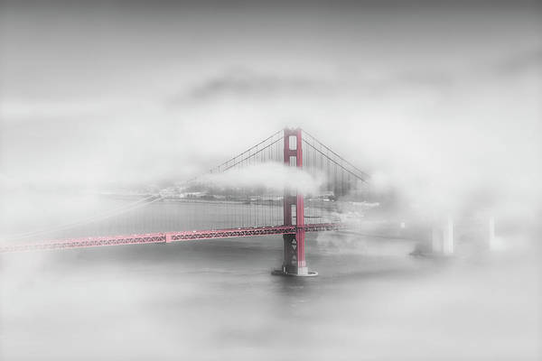 Wall Art - Photograph - Foggy Golden Gate Bridge - Colorkey by Melanie Viola