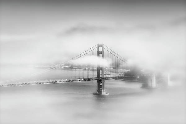 Wall Art - Photograph - Foggy Golden Gate Bridge - Monochrome by Melanie Viola