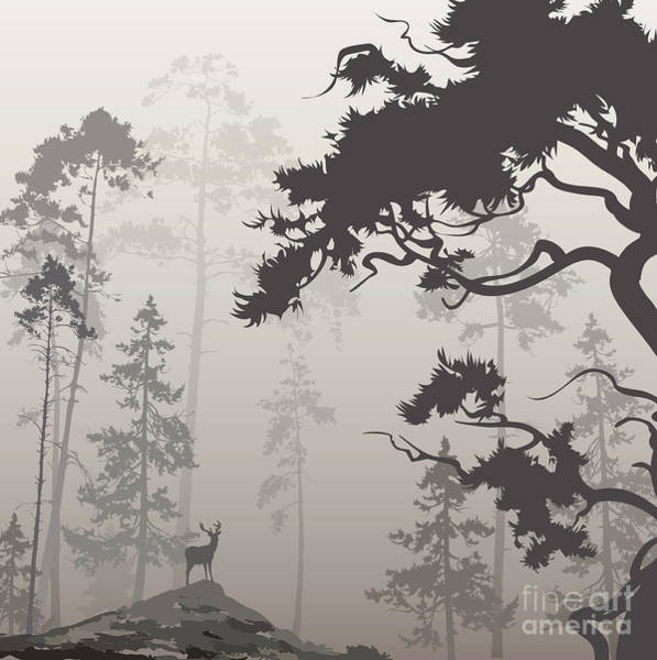 Wall Art - Digital Art - Foggy Landscape With Silhouette Of by Eva mask