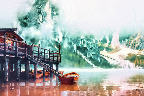 Painting - Foggy Morning At Lago Di Braies Italy - Dwp1721011 by Dean Wittle