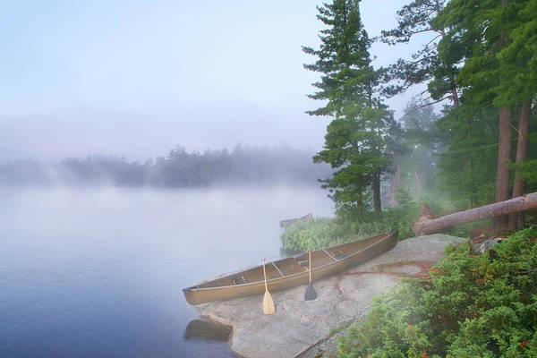 Canoe Photograph - Foggy Morning In Canoe Country by Georgepeters