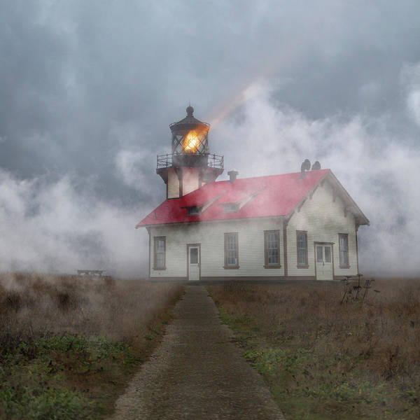 Fresnel Lens Wall Art - Photograph - Foggy Point Cabrillo Lighthouse California by Betsy Knapp