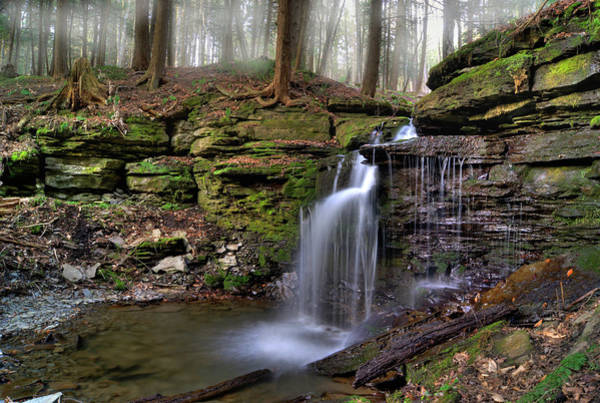 Hemlock Photograph - Foggy Waterfall In Morgan Hill State by Brett Maurer