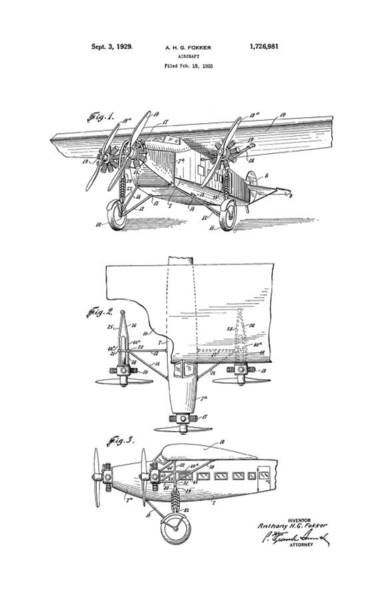 Wall Art - Photograph - Fokker Aircraft Patent 1929 by Daniel Hagerman