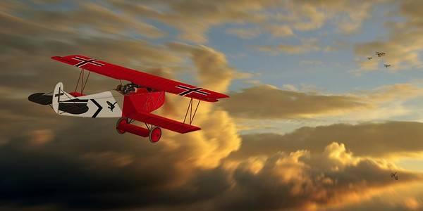 Ww1 Digital Art - Fokker D7 Vs 3 Sopwith Camels by John Wills