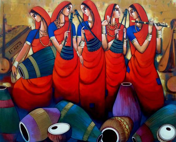 Painting - Folk And Mridanga by Sekhar Roy