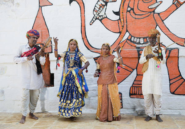 Wall Art - Photograph - Folk Dancers Performing In Front Of A by Exotica.im