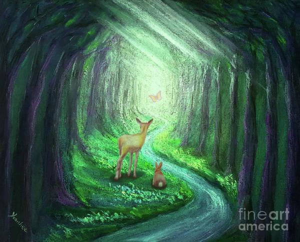Bambi Mixed Media - Follow The Light- Green by Yoonhee Ko