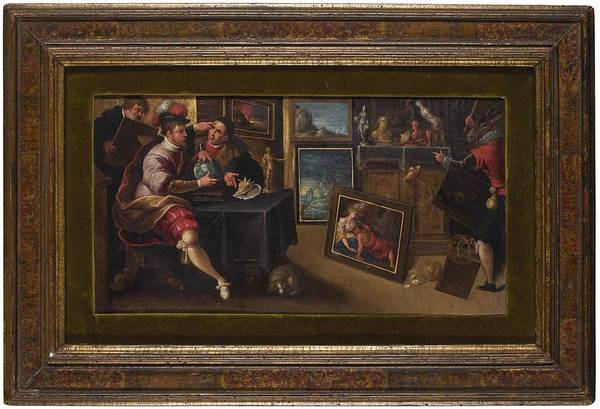 Wall Art - Painting - Follower Of Frans Francken The Younger The Interior Of A Picture Gallery, With Figures At A Table by Celestial Images