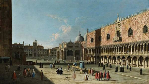 Wall Art - Painting - Follower Of Giovanni Antonio Canal, Called Canaletto - Venice, The Piazza San Marco by Celestial Images