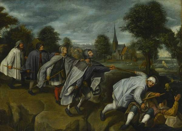 Wall Art - Painting - Follower Of Pieter Bruegel The Elder - The Blind Leading The Blind  C.1600  by Celestial Images