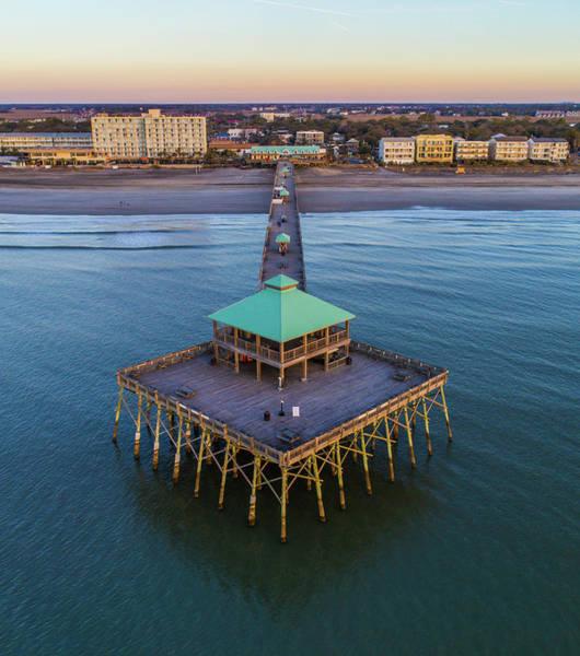 Photograph - Folly Beach Pier Aerial View by Donnie Whitaker
