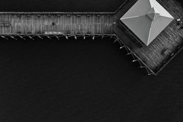 Photograph - Folly Beach Pier Black And White Aerial by Donnie Whitaker