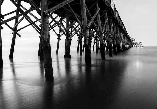 Photograph - Folly Beach Pier Black And White by Dan Sproul