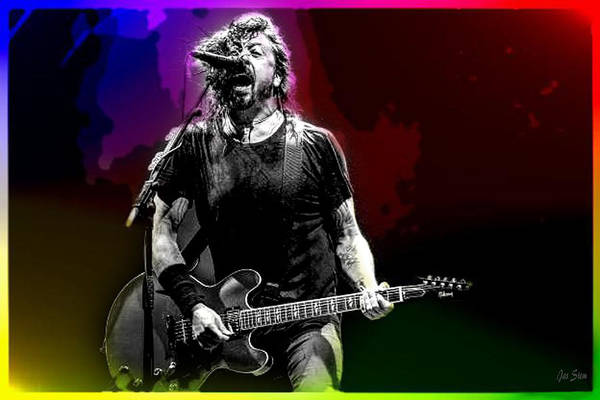 Frontman Wall Art - Mixed Media - Foo Fighters David Grohl by Jas Stem