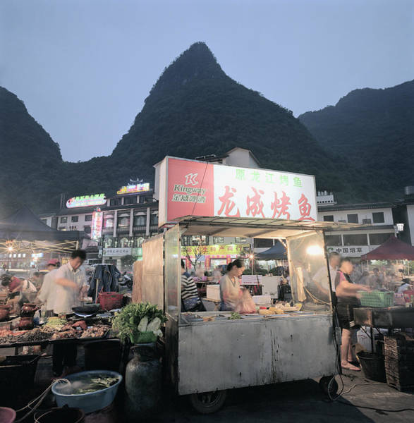 Chinese Language Photograph - Food Hawker Stall by Martin Puddy