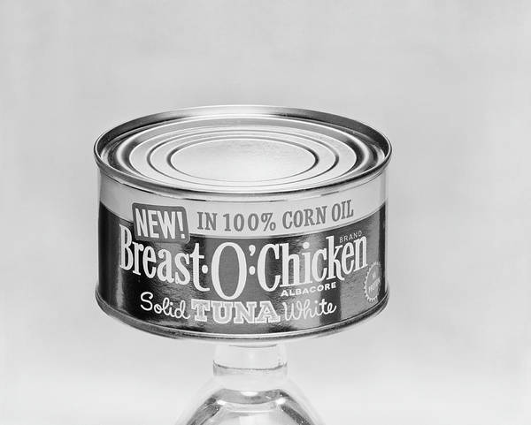 Food Photograph - Food Tin Against White Background by Tom Kelley Archive