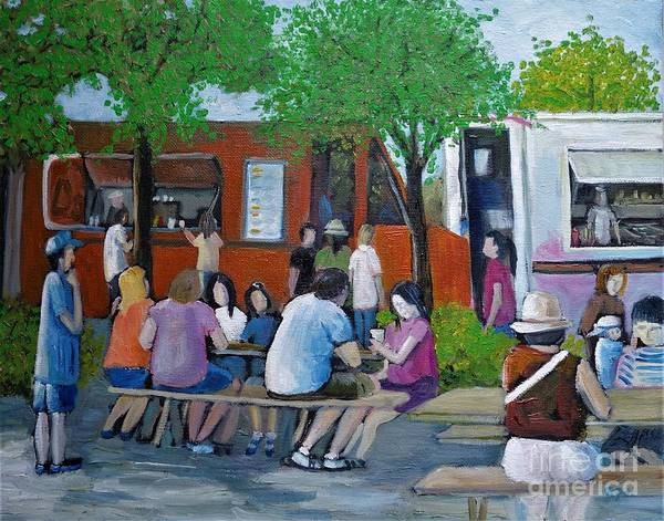 Old Montreal Painting - Food Truck Gathering by Reb Frost