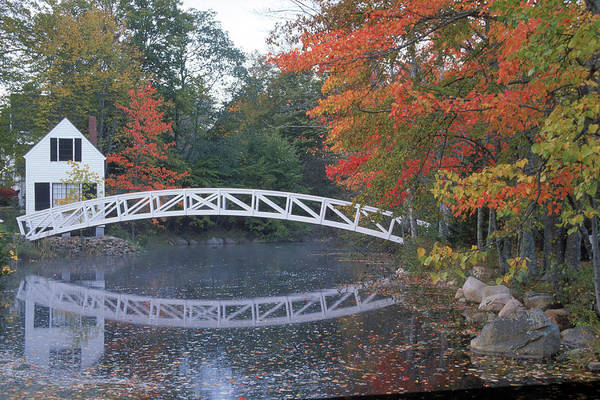 New England Autumn Photograph - Foot Bridge, Mount Desert Island, Maine by Stephen Saks