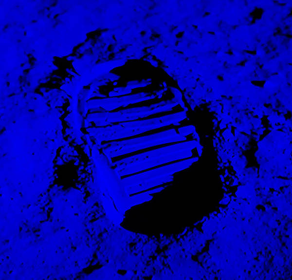 Photograph - Foot Print On The Moon In Blue by Rob Hans
