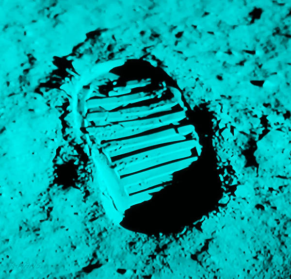 Photograph - Foot Print On The Moon In Cyan by Rob Hans