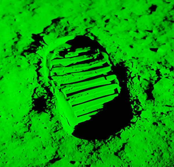 Photograph - Foot Print On The Moon In Green by Rob Hans