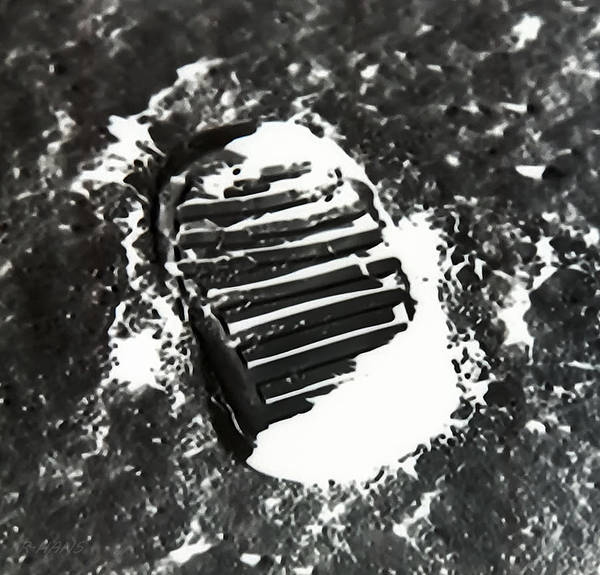 Photograph - Foot Print On The Moon  In Negative by Rob Hans
