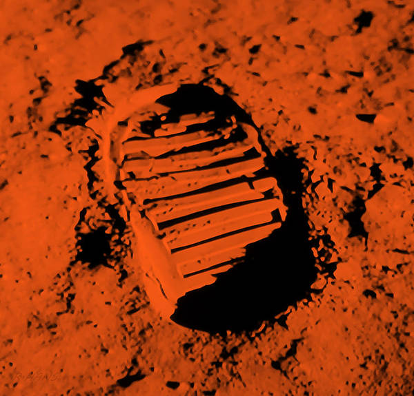 Photograph - Foot Print On The Moon In Orange by Rob Hans