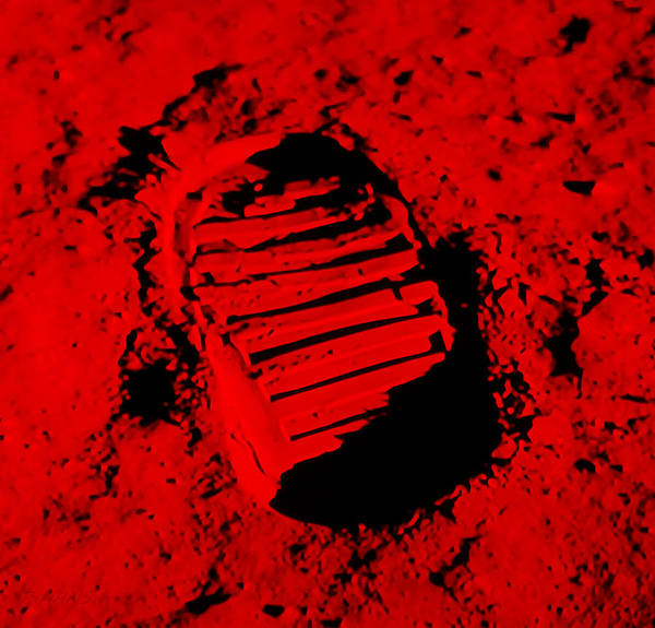 Photograph - Foot Print On The Moon In Red by Rob Hans