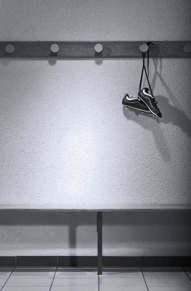 Hanging Photograph - Football Boots Hanging In Change Room by Photo And Co