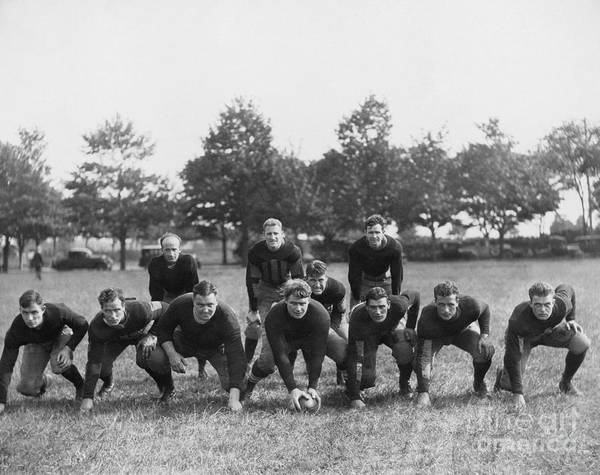 Football Team In Field Art Print