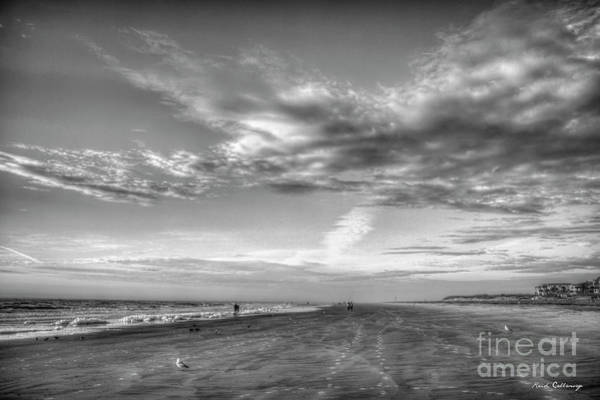 Wall Art - Photograph - Footprints In The Sand B W Tybee Island Sandy Beach Atlantic Ocean Art by Reid Callaway