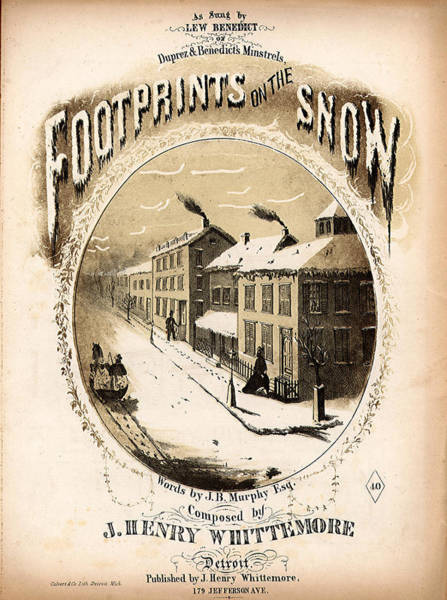 Wall Art - Mixed Media - Footprints On The Snow, 1866 Music Sheet Cover Page by Zal Latzkovich