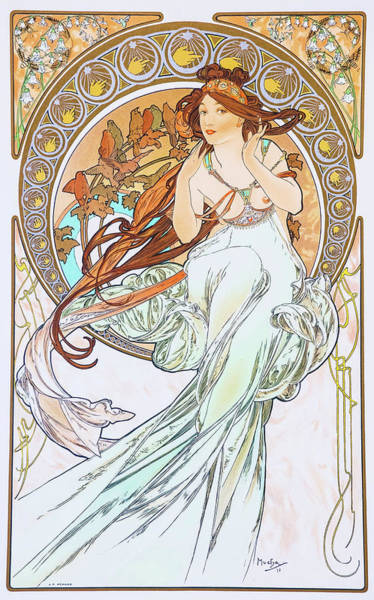 Wall Art - Painting - For Art, Music - Digital Remastered Edition by Alfons Maria Mucha