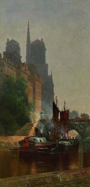 Wall Art - Painting - For Notre Dame, Foggy Morning by Edwin Deakin