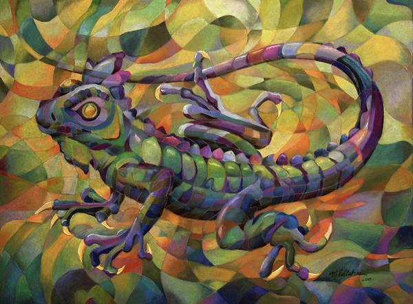 Green Iguana Wall Art - Pastel - For The Boys by Marilyn Callahan