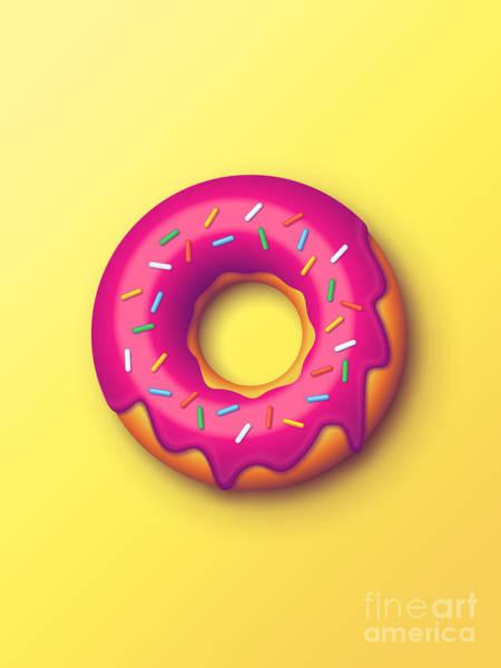 Wall Art - Digital Art - Forbidden Doughnut - Yellow by Ivan Krpan