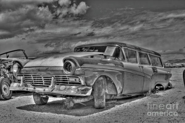 Photograph - Ford Country Squire Wagon - Bw by Tony Baca