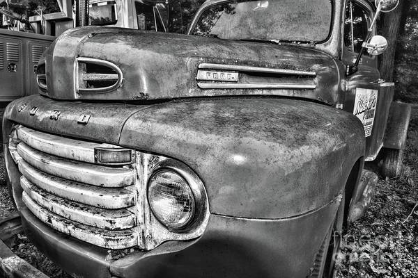 Wall Art - Photograph - Ford F4 Tow Front Grill Black And White by Paul Ward