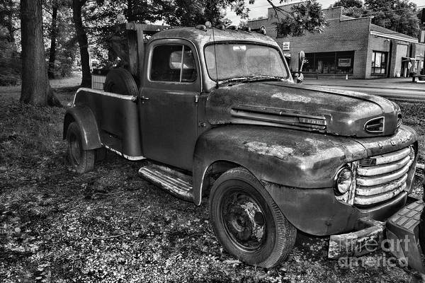Wall Art - Photograph - Ford F4 Tow The Truck Hook And Book Black And White by Paul Ward