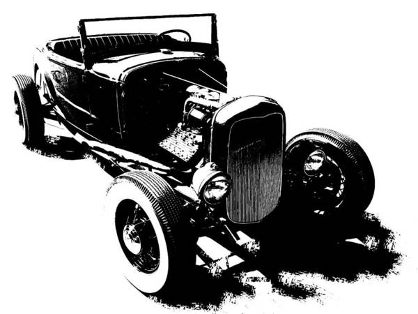 Photograph - Ford Flathead Roadster Two Blk by David King