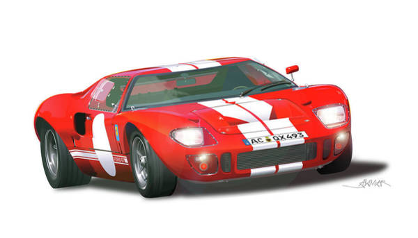 Ford Drawing - Ford Gt 40  Filipacchi by Alain Jamar